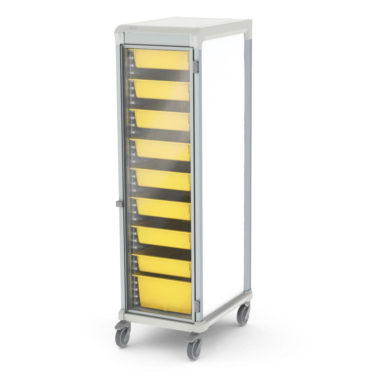 Storage medical cart glass door