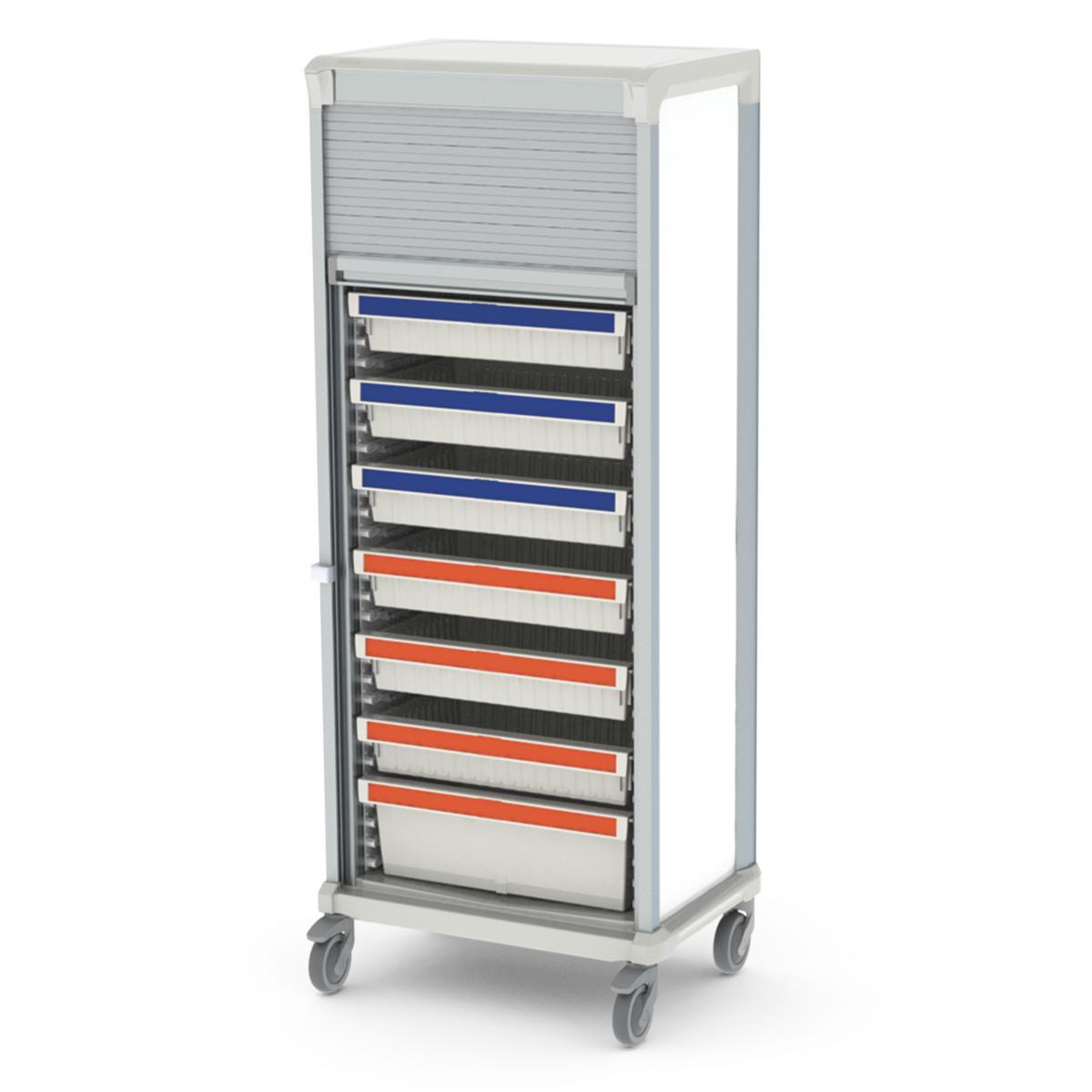 Storage medical cart tambour door
